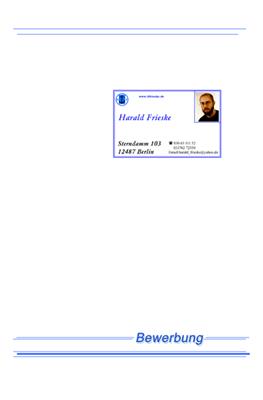 Harald Frieske, Systemadministrator / Bewerbungsmappe